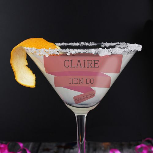 Pink Banner Cocktail Glass Personalised